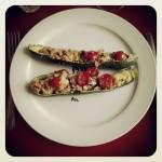 courgettes farcies au thon, parmesan et basilic