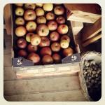 Filets de rouget, compote de pommes et crumble de prunes