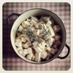 purée de céleri rave et pommes de terres à l'huile d'olive et au thym