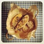 Patates douces et ail confits, origan, sauge et graines de courge