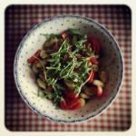 gnocchis grillés, tomates, roquette et parmesan
