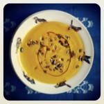 Soupe de potimarron, romarin et graines de courges