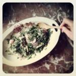 Poulet à la coriandre, menthe et carpaccio de champignons