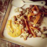Crème de potimarron, chou fleur et carottes au cumin